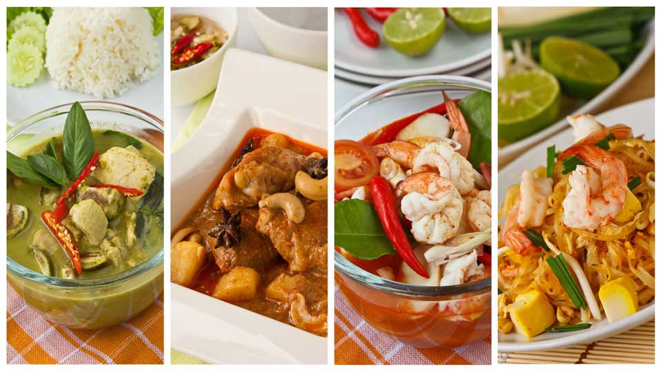Green Curry, Jungle Curry, Tom Yum and Pad Thai in Nice Tableware
